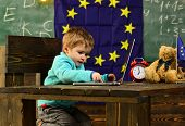 Innovation And Technology. Little Child Use Laptop Computer In Classroom With Eu Flag, Innovation. I poster