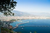 Alanya Peninsula, Alanya, Turkey. Tourist Ships On The Mediterranean Sea. Port Of Alanya. Alanya Is  poster