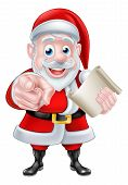 Santa Wants Or Needs You Christmas Illustration Of Happy Cartoon Santa Claus Pointing At The Viewer. poster