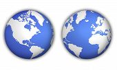 foto of world-globe  - two different views of world globe with shadow - JPG