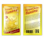 Vector 3d Realistic Package Of Instant Juice Isolated On White Background. Yellow Banana And Slices  poster