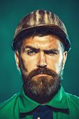 Man Builder. Industrial Worker. Construction Worker In Hard Hat. Portrait Of Mechanical Worker. Buil poster