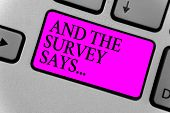 Handwriting Text Writing And The Survey Says.... Concept Meaning Doing Poll And Bring The Results Di poster