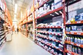 Abstract Blurred Customer Shopping At Hardware Store In Usa poster