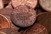 One Drachmas, Old Greek Coin Among Euro Coins (macro Shot)