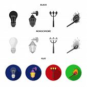 Led Light, Street Lamp, Match.light Source Set Collection Icons In Black, Flat, Monochrome Style Vec poster
