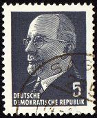 Walter Ulbricht Portrait On Postage Stamp
