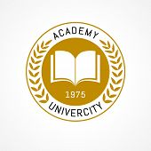 University Education Logo Design With Open Book And Laurel Branch. University Or College Is Golden W poster