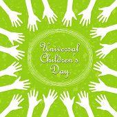 Hands around the text, universal children's day