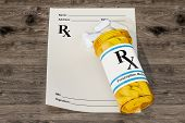 Blank Rx Prescription Form With Medical Bottle Drugs On The Wooden Table, 3d Rendering poster