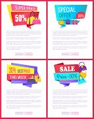 Super Offer Special Advert Best Cost This Week Sale Labels Half Price Discount, Advertisement Poster poster