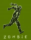 Zombie Soldier Runs With His Hands Up Behind His Back. Zombie Army. The Horror Genre. Vector Illustr poster