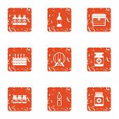 Pharmaceutical Compositions Icons Set. Grunge Set Of 9 Pharmaceutical Compositions Vector Icons For  poster