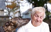Senior Lady With Greyhound
