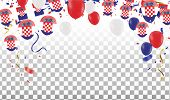 Croatian Balloons With Countries Flags Of National Croatian Flags Team Group And Ribbons Flag Ribbon poster
