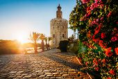 Torre Del Oro, Meaning Golden Tower, In Seville, Spain Is An Albarrana Tower Located On The Left Ban poster