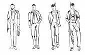 Fashion Man. Set Of Fashionable Mens Sketches On A White Background. Spring Men. poster
