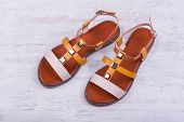 Pair Of Womens Sandals On White Wooden Background poster