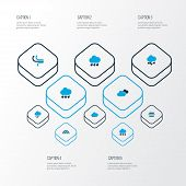 Climate Icons Colored Set With Lightning, Breeze, Snow And Other Rainstorm Elements. Isolated  Illus poster