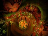 Glow Abstract Fractal Flower Background. Translucent Bubbles Texture With Glow Flowers. Bright, Mult poster