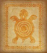 Decorative Ethnic Border On A Piece Of Parchment. Native Americans Symbol Of Turtle. poster