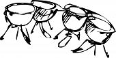 pic of timpani  - a sketch of percussion instruments orchestra timpani - JPG