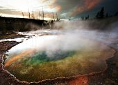 stock photo of steam sterilization  - Morning Glory Pool at sunset - JPG