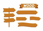 Vector Wooden Planks. Old Texture Wood Arrow. Cartoon Wooden Plank Signs poster
