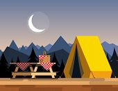 Recreation In Nature. Picnic. Picnic In The Mountains. Camping In The Mountains. The Concept Of Camp poster