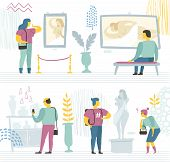People In The Modern Museum Look At Paintings, Sculptures, And Various Exhibits. Vector Color Illust poster