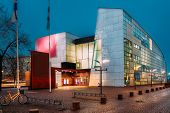Helsinki, Finland. Evening Night View Of Kiasma Contemporary Art Museum. Museum Exhibits Contemporar poster