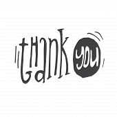 Handdrawn Lettering Of A Phrases Thank You. Unique Typography Handdrawn Sign On White Background. Le poster