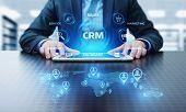 Crm Customer Relationship Management Business Internet Techology Concept. poster
