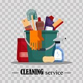 Cleaning Service. Set House Cleaning Tools In Bucket On Transparent Background. Detergent And Disinf poster