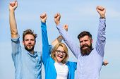 Company Reached Top. Men With Beard In Formal Shirts And Blonde In Eyeglasses As Successful Team. Co poster
