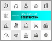 Construction Icons. Set Of  Line Icons. Church, Garage, Hospital. Urban Environment Concept. Vector  poster