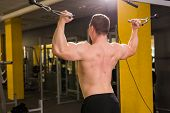 Strong Muscular Bodybuilder Doing Exercise On Bars In The Gym. Part Of Fitness Body. Sports And Fitn poster