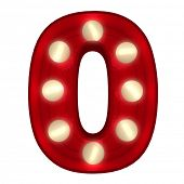 3D rendering of a glowing number 0 ideal for show business signs (part of a complete alphabet)