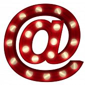 3D rendering of a glowing at symbol  ideal for show business signs (part of a complete alphabet)