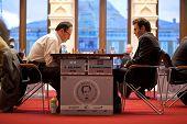 MOSCOW - NOVEMBER 4: Boris Gelfand (Israel, 42) - 2741 and Shahrijar Mamedjarov (Azerbaijan, 25)  2763 play on Michael Talja's fifth chess memorial on November 4, 2010 in Moscow, Russia.