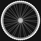 white Bike wheels isolated on black background vector