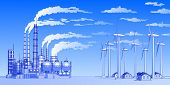 Industry concept: plant, windmills & houses. Bitmap copy my vector id 9762685