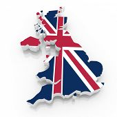The UK country map  on a white background. Clipping path included.