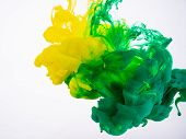 Yellow And Green Acrylic Paint Make An Abstract Explosion Under Water. Two Ink Colours Mixing In Liq poster