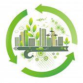Ciudad verde. Fondo del medio ambiente.