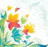 image of butterfly flowers  - Beautiful flower background with butterfly and colibri - JPG