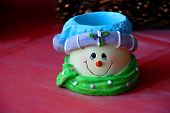 Happy Ceramic Snowman Smiling Face