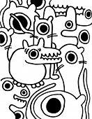 Crazy pattern of freaks doodles