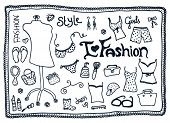 foto of clothes hanger  - Female love for fashion accessories doodles vector set - JPG