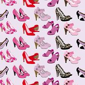 Seamless fashion shoes and heals pattern in vector